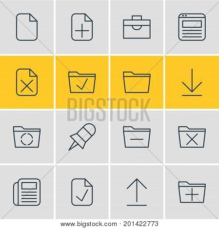 Editable Pack Of Approve, Template, Add And Other Elements.  Vector Illustration Of 16 Bureau Icons.
