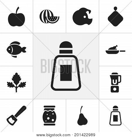 Set Of 12 Editable Food Icons. Includes Symbols Such As Grill, Homemade Jelly, Melon Slice And More