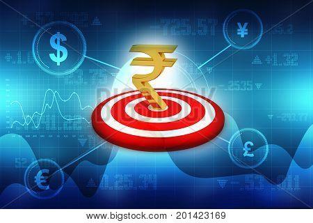 Target Indian Rupee, Concept of Targeting Indian Rupee, 3d rendering