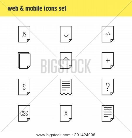 Editable Pack Of Question, Plus, Script And Other Elements.  Vector Illustration Of 12 Document Icons.