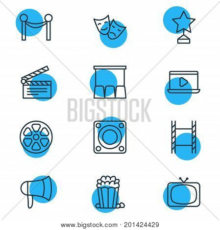 Editable Pack Of Monitor, Snack, Clapper And Other Elements.  Vector Illustration Of 12 Cinema Icons.