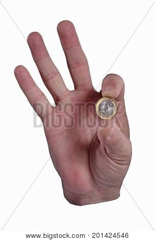 Hand hold one euro coin with fingers isolated on white background. Ok money.