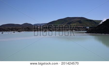 A sulfure tyrkys lake Blue Lagoon in Iceland