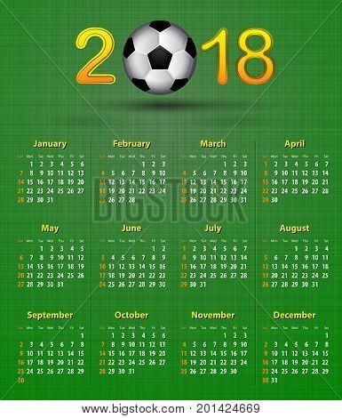 Soccer English calendar for 2018 on green linen texture. Football theme. Vector illustration
