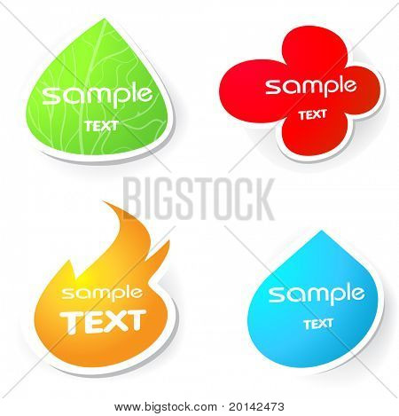 Four stickers. Water, flower, fire, leaf.