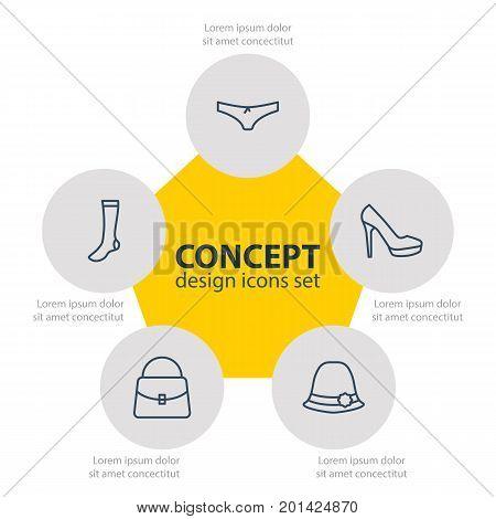 Editable Pack Of Panama, Handbag, Hosiery Elements.  Vector Illustration Of 5 Dress Icons.