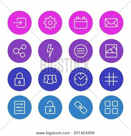 Editable Pack Of Flash, List, Url And Other Elements.  Vector Illustration Of 16 Annex Icons.