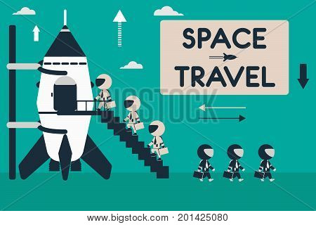 Space travel concept. Flat design illustration with rocket and stick figures as space business tourists.