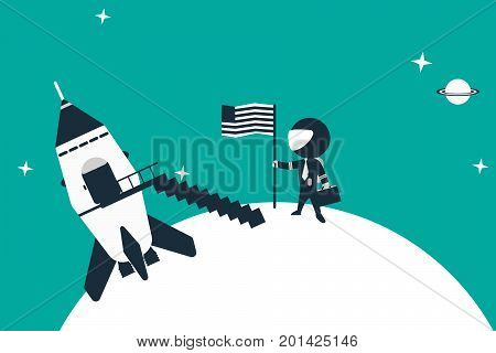 Stick figure astronaut landed on planet with his rocket placing flag in the ground. Flat design concept