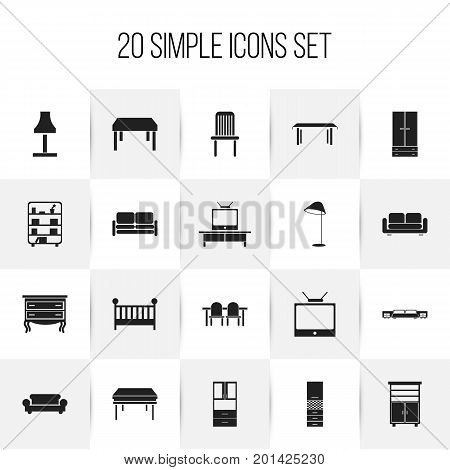 Set Of 20 Editable Interior Icons. Includes Symbols Such As Wooden Table, Glim, Commode And More