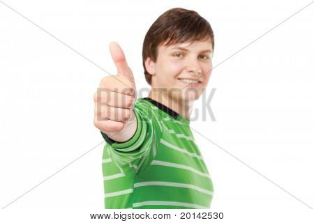 A young guy showing ok, focus on his hand