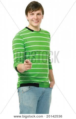A young guy pointing at you