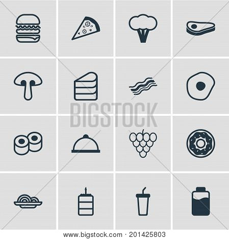 Editable Pack Of Platter, Pizza Slice, Patisserie And Other Elements.  Vector Illustration Of 16 Food Icons.