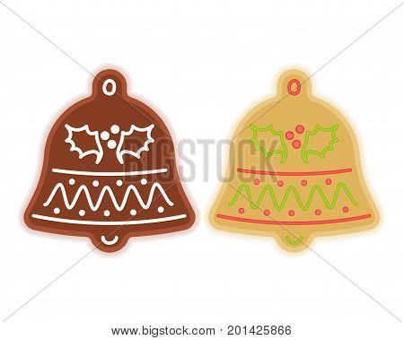 Traditional xmas cookies symbols: jingle bell. Flat illustration of christmas winter holiday sweet baked treats. Isolated on white background vector design elements.
