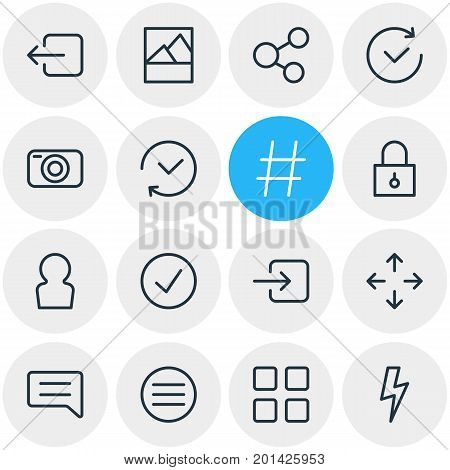 Editable Pack Of Share, Sign In, Note And Other Elements.  Vector Illustration Of 16 Application Icons.