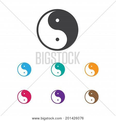 Vector Illustration Of Faith Symbol On Ying Yang Icon