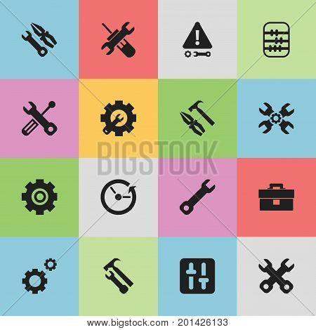 Set Of 16 Editable Toolkit Icons. Includes Symbols Such As Pliers Hammer, Wrench Hammer, Wrench And More