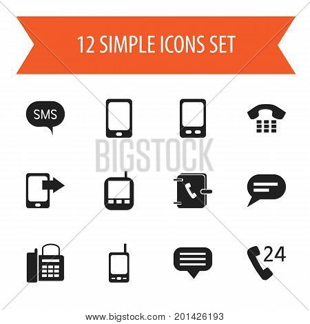 Set Of 12 Editable Device Icons. Includes Symbols Such As Chat, Share Display, Transceiver And More