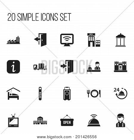Set Of 20 Editable Motel Icons. Includes Symbols Such As Hotel, Entrance, Service Bell And More