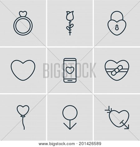 Editable Pack Of Arrow, Smartphone, Engagement And Other Elements.  Vector Illustration Of 9 Amour Icons.