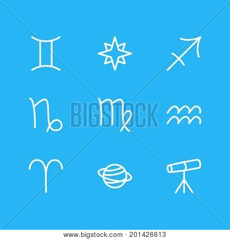 Editable Pack Of Archer, Goat, Favorite And Other Elements.  Vector Illustration Of 9 Astrology Icons.