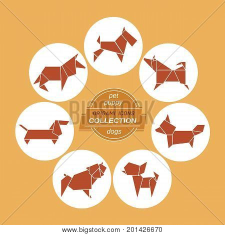 Cartoon dogs icon set. Abstract brown pet dog sign silhouette in white circle. Freehand drawn stylized origami puppy dogs emblem. Template geometric logo design. Design vector element pets symbol
