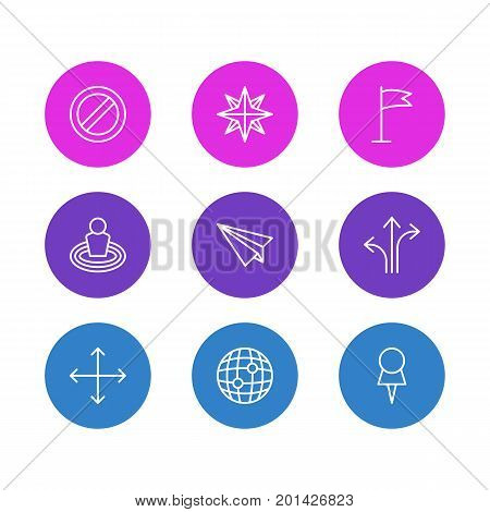 Editable Pack Of Block, Marker, Orientation And Other Elements.  Vector Illustration Of 9 Location Icons.