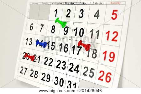 Calendar and several dates with colorful pins. 3D rendering.