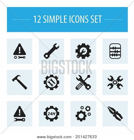 Set Of 12 Editable Toolkit Icons. Includes Symbols Such As Technical Support, Handle Hit, Cogwheels