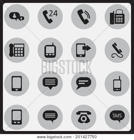 Set Of 16 Editable Device Icons. Includes Symbols Such As Mobile, Transceiver, Smartphone And More