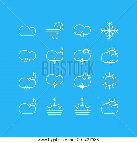Editable Pack Of Windstorm, Sunrise, Cloudy And Other Elements.  Vector Illustration Of 16 Atmosphere Icons.