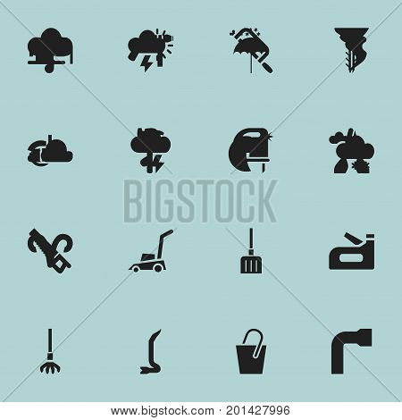 Set Of 16 Editable Instrument Icons. Includes Symbols Such As Handsaw, Jimmy, Handle
