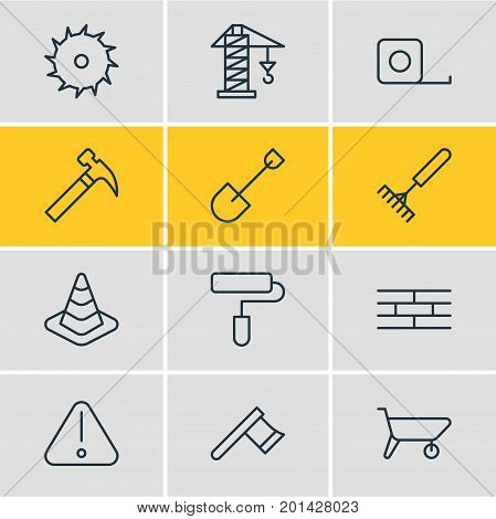 Editable Pack Of Measure Tape, Road Sign, Spade And Other Elements.  Vector Illustration Of 12 Industry Icons.
