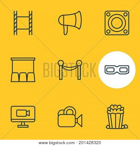 Editable Pack Of Loudspeaker, Hall, Cinema Fence And Other Elements.  Vector Illustration Of 9 Cinema Icons.