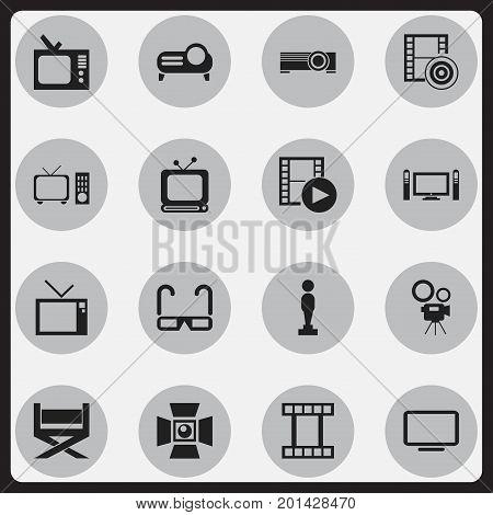 Set Of 16 Editable Cinema Icons. Includes Symbols Such As Retro Tv, Presentation, Home Cinema And More