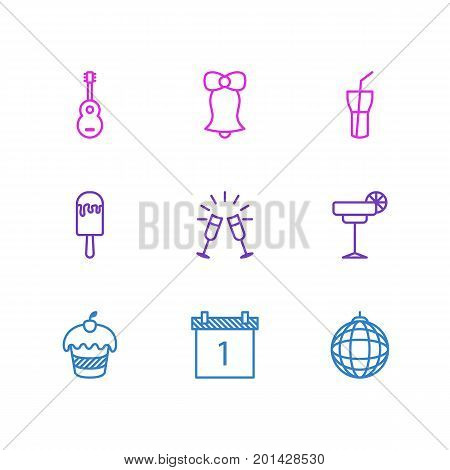 Editable Pack Of Goblet, Muffin, Jingle And Other Elements.  Vector Illustration Of 9 Banquet Icons.