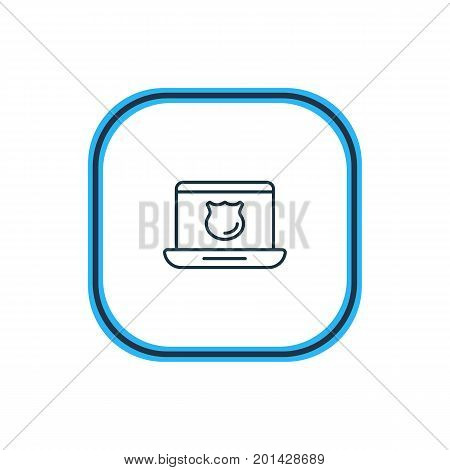 Beautiful Security Element Also Can Be Used As Data Security Element.  Vector Illustration Of Antivirus Outline.