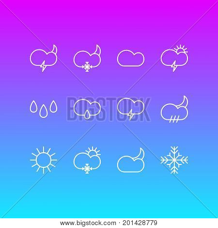 Editable Pack Of Cloudy, Cloud, Windstorm And Other Elements.  Vector Illustration Of 12 Sky Icons.