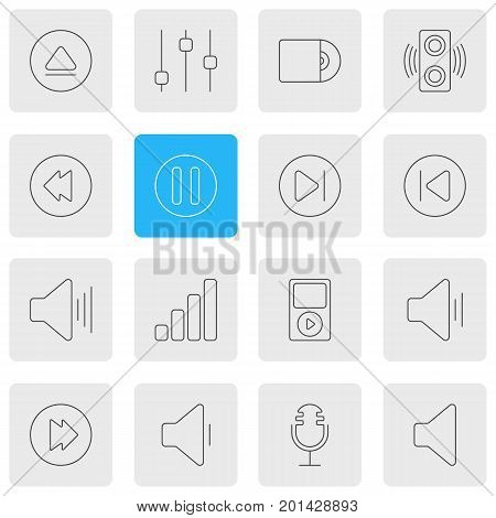 Editable Pack Of Speaker, Compact Disk, Preceding And Other Elements.  Vector Illustration Of 16 Music Icons.