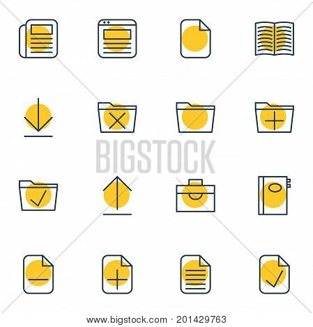 Editable Pack Of Blank, Portfolio, Journal And Other Elements.  Vector Illustration Of 16 Bureau Icons.