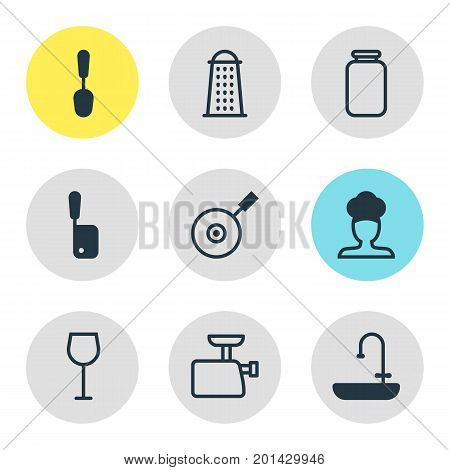 Editable Pack Of Wine, Washstand, Slicer Elements.  Vector Illustration Of 9 Restaurant Icons.