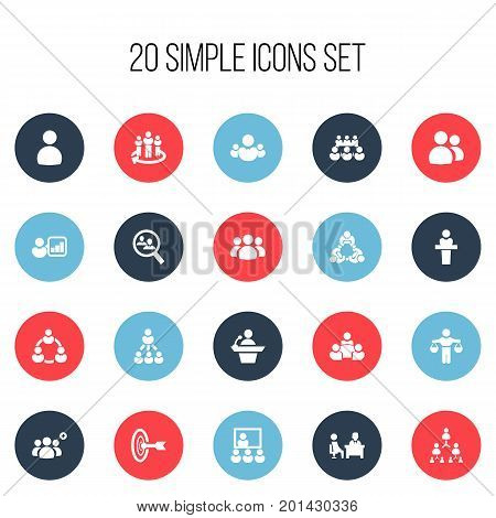 Set Of 20 Editable Community Icons. Includes Symbols Such As Group, Leadership, Hierarchy And More