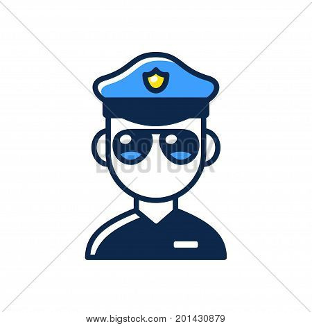 Police officer flat cartoon line icon. Stylized policeman with sunglasses vector illustration.