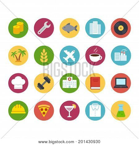 Big icon set of business and professions. Industry and service food and production. Flat cartoon bright color vector icons.