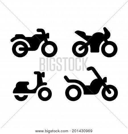 Simple and modern motorcycle vector icon set. Classic motorcycle sports bike moped and chopper. Minimal silhouette illustrations.