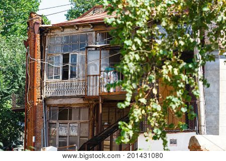 Balcony Of Old Tbilisi.old Wood Carved Balcony In Tbilisi