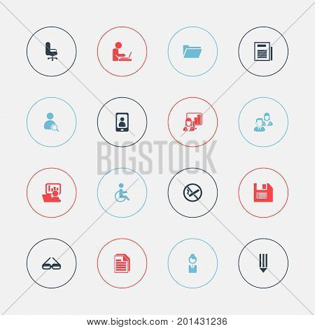 Set Of 16 Editable Bureau Icons. Includes Symbols Such As Work Seat, Floppy, Page And More