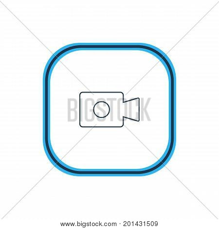 Beautiful Computer Element Also Can Be Used As Movie Cam Element.  Vector Illustration Of Video Device Outline.