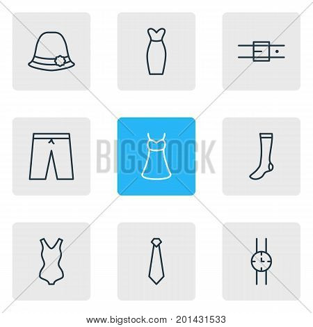 Editable Pack Of Sarafan, Panama, Hosiery And Other Elements.  Vector Illustration Of 9 Clothes Icons.
