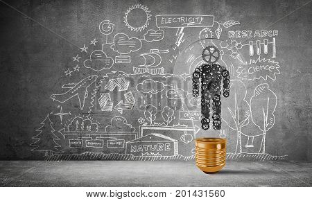 Lightbulb with human from gears inside placed against eco-analytical information sketched on grey wall. 3D rendering.